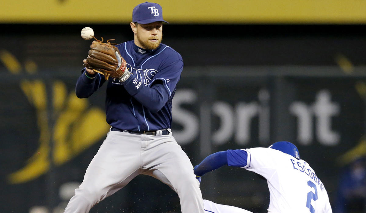Rays second baseman Ben Zobrist bobbles the ball as the Royals' Alcides Escobar (2) slides into second base during the third inning of a game at Kauffman Stadium in Kansas City, Mo. Escobar was called safe and review of the play stood.