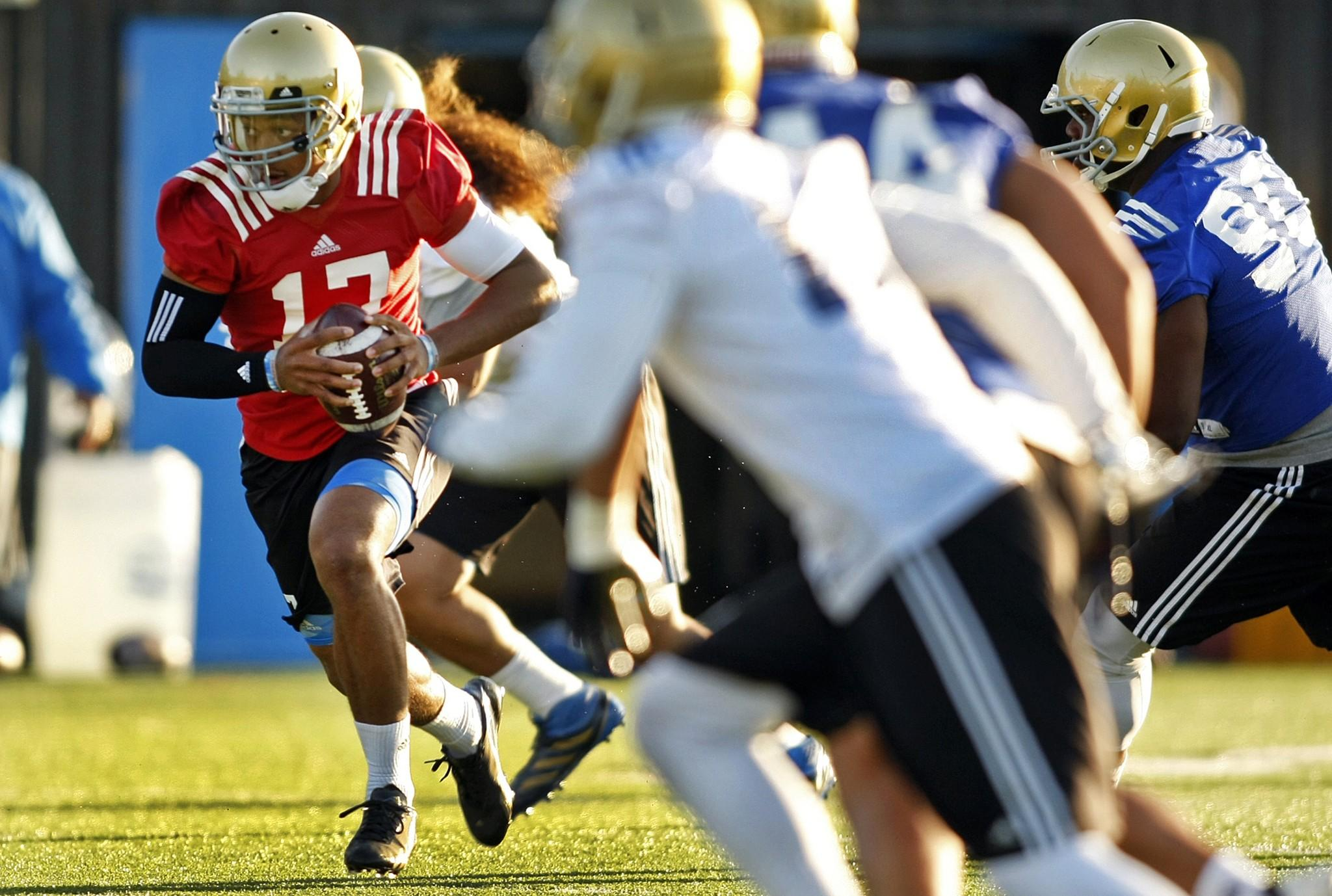 UCLA quarterback Brett Hundley and the Bruins' first team offense will face off against the first team defense at the school's spring game at StubHub Center on Saturday.