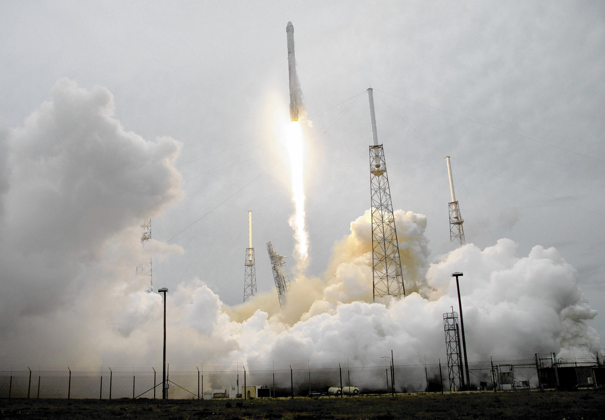 a rocket carrying the spacex dragon ship lifts off april 18 from cape canaveral air force