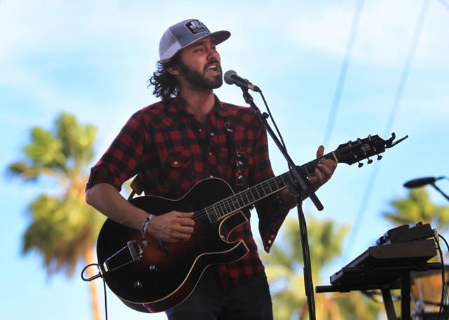 Shakey Graves (real name: Alejandro Rose-Garcia) performs on the Palomino Stage during the opening day of the three-day Stagecoach festival at Empire Polo Fields in Indio.