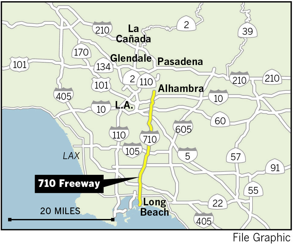 A map of the Long Beach (710) Freeway, currently under consideration for an extension.