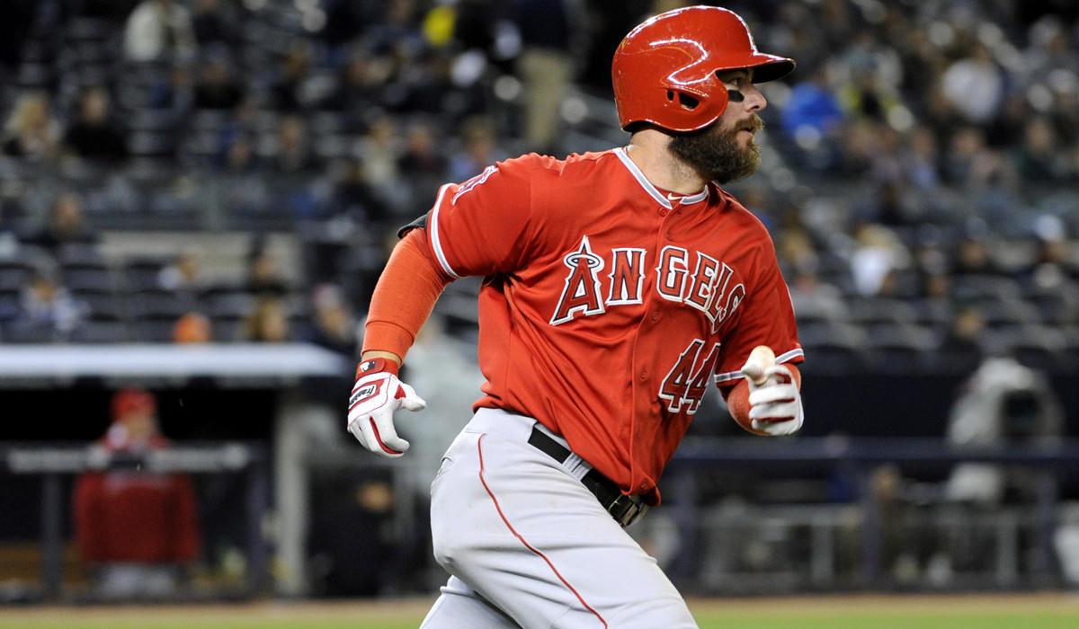 Angels third baseman Ian Stewart watches his two-run home run as he heads toward first base in the third inning Friday night at Yankee Stadium.