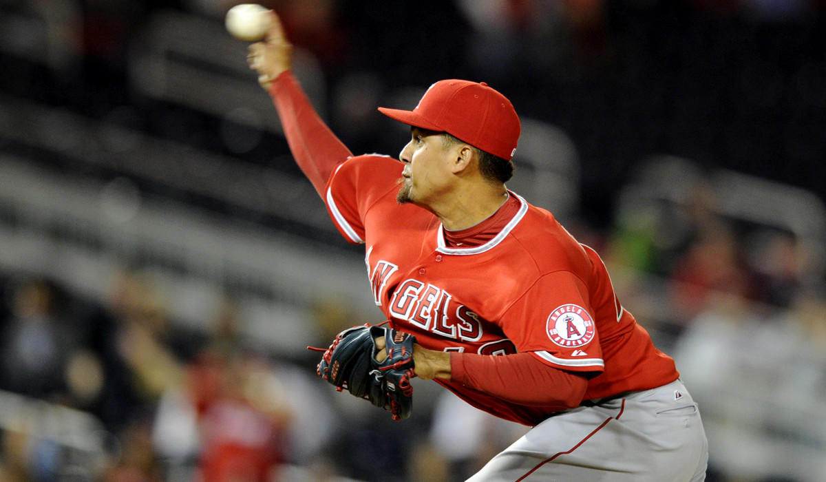 Angels relief pitcher Ernesto Frieri has struggled this season, with a 9.35 earned-run average and two blown saves.