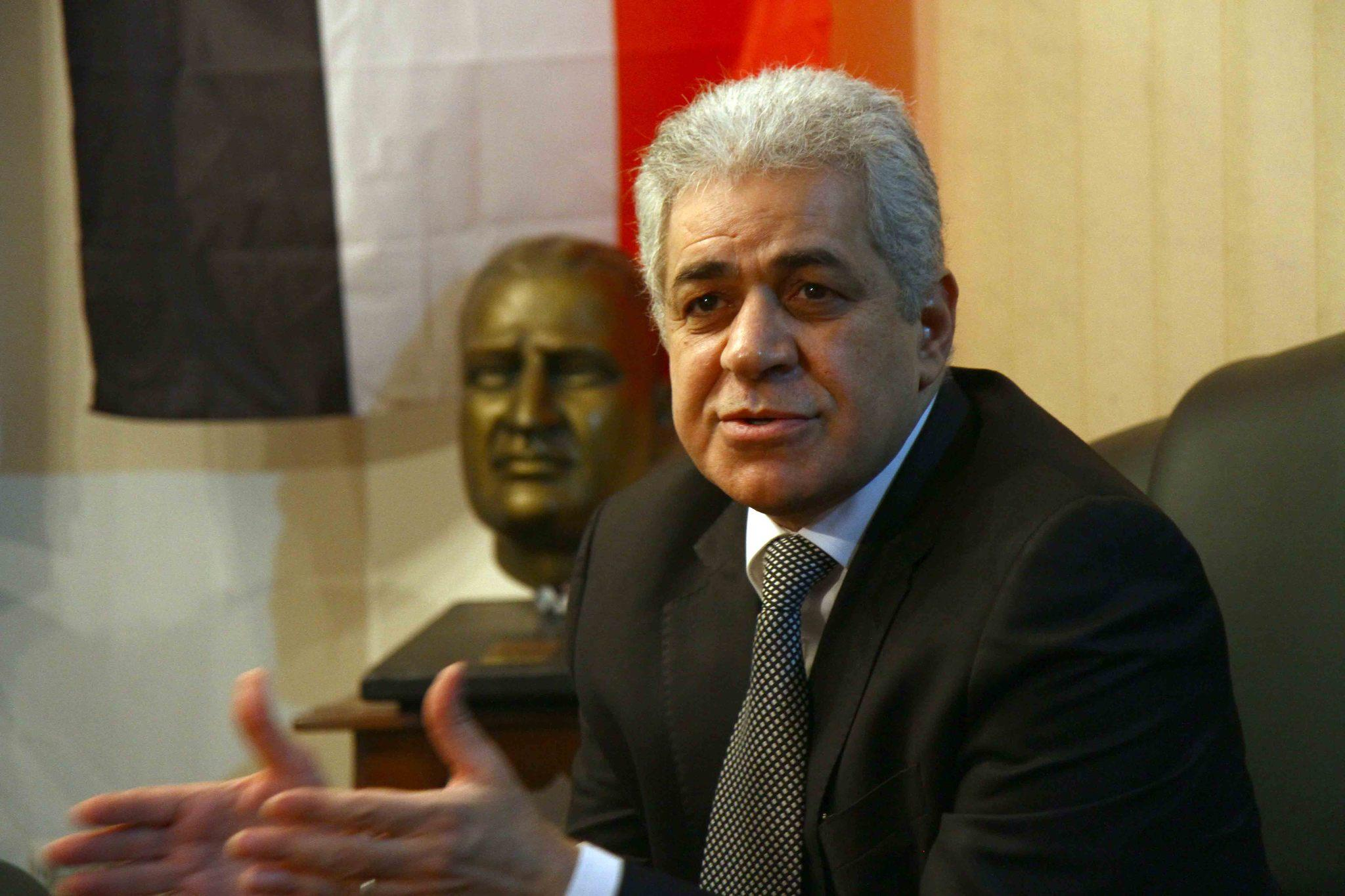 Egyptian presidential candidate Hamdeen Sabahi's campaign denied remarks attributed to him in an audio recording in which a person with a voice that sounds like his says he would put former army chief Abdel Fattah Sisi on trial for the deaths of hundreds of protesters.