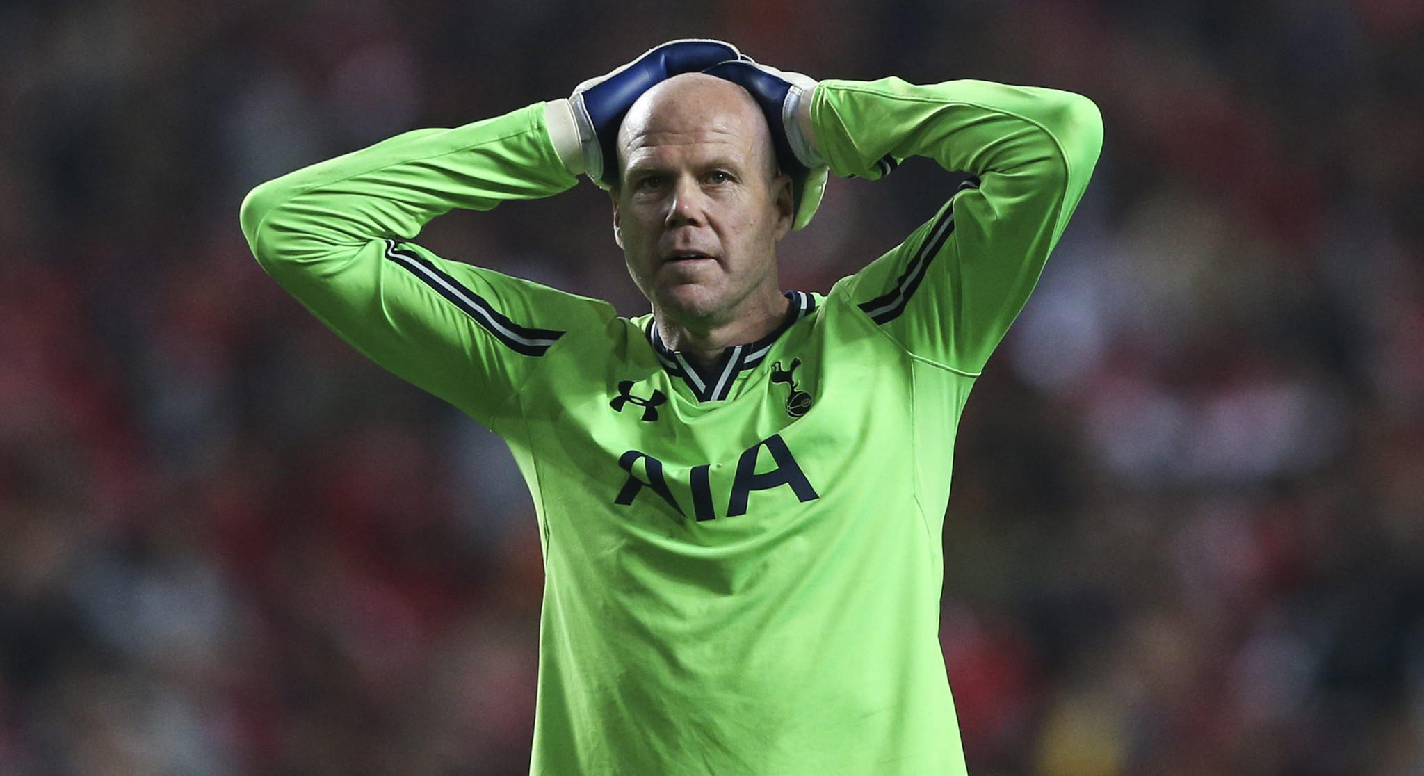 Tottenham Hotspur goalkeeper Brad Friedel reacts after a teammate missed a scoring opportunity during a UEFA Europa League match against Benfica in March. Friedel is one of the greatest goalkeepers in U.S. history.