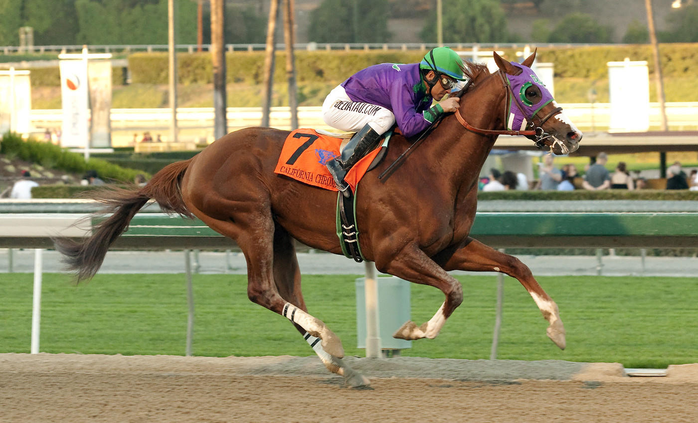 Jockey Victor Espinoza rides California Chrome to victory in the California Cup Derby at Santa Anita in January. California Chrome is the favorite to win next weekend's Kentucky Derby.
