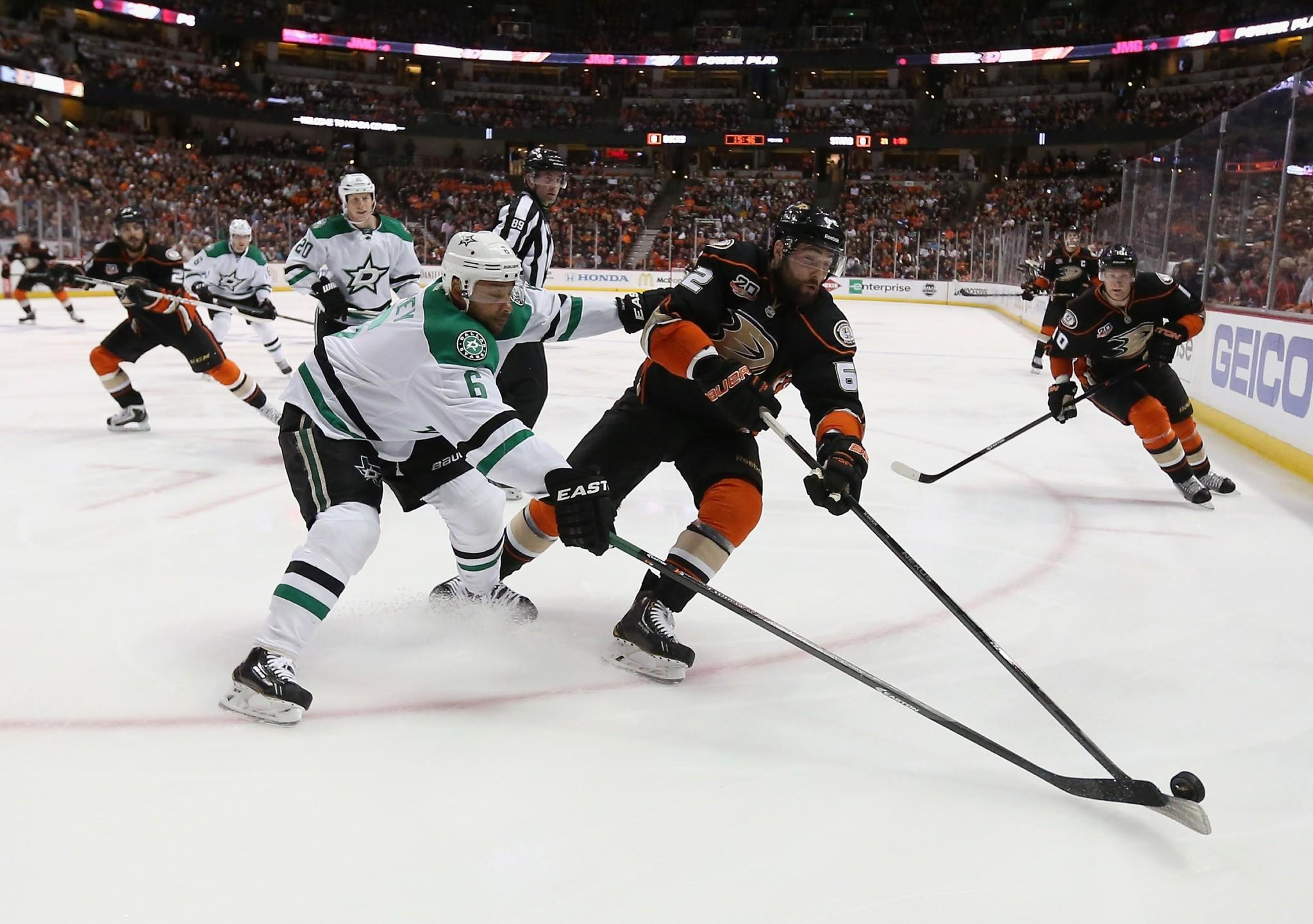 Patrick Maroon, right, battles Dallas' Trevor Daley during the Ducks' 6-2 victory in Game 5 of the teams' playoff series Friday at the Honda Center.