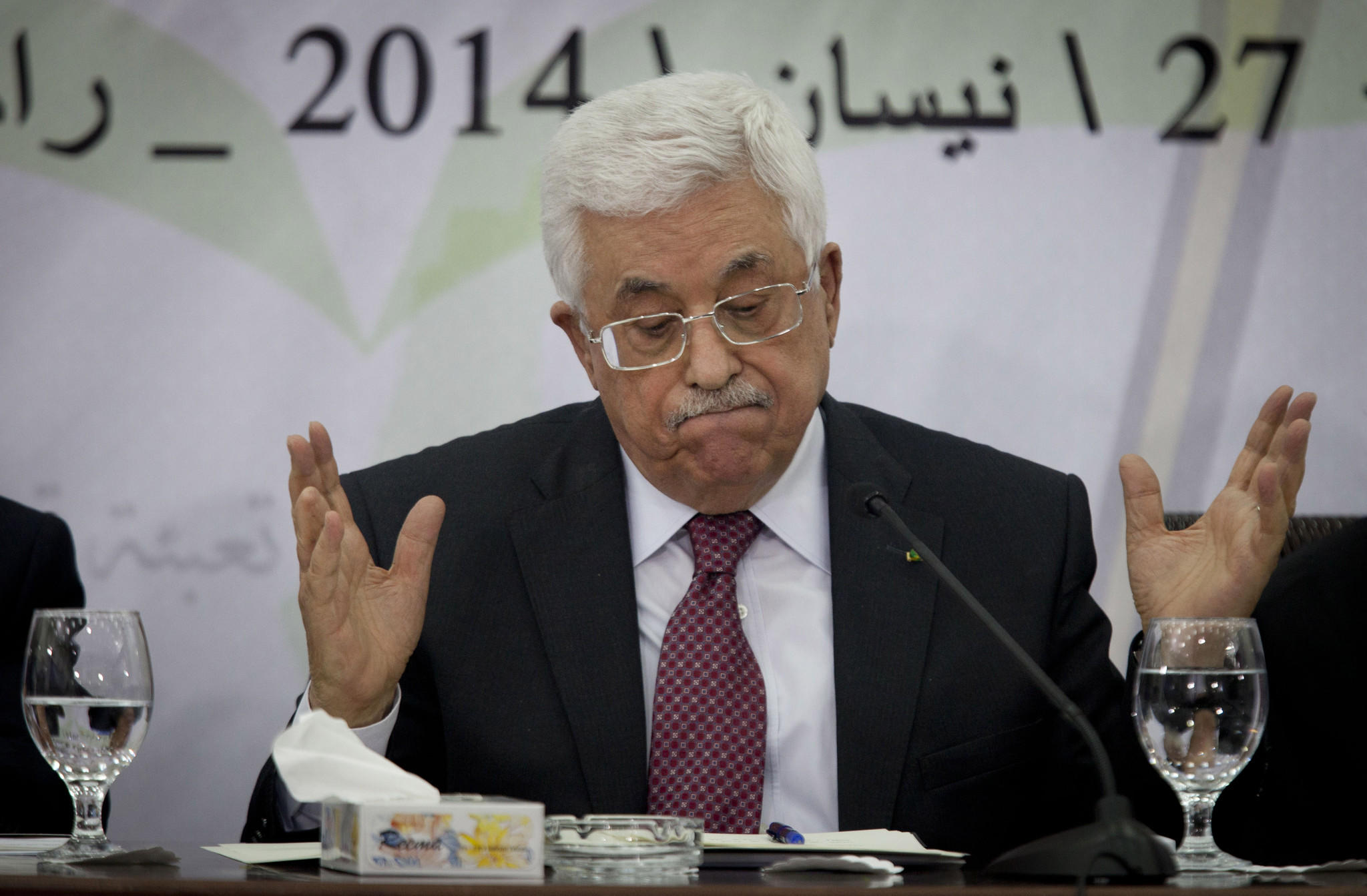 "Palestinian President Mahmoud Abbas, shown Saturday during a meeting with the Palestinian Central Council in Ramallah, has labeled the Holocaust ""the most heinous crime known by mankind in modern times."""