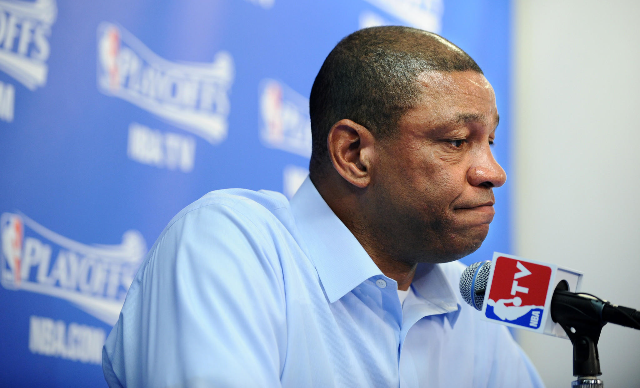 Clippers Coach Doc Rivers speaks to the media before Game 4 of his team's first-round playoff series against the Golden State Warriors on Sunday.