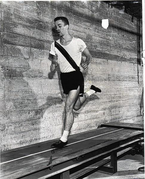 Dick Skelton, then 21, tries out a new treadmill invention in 1954.