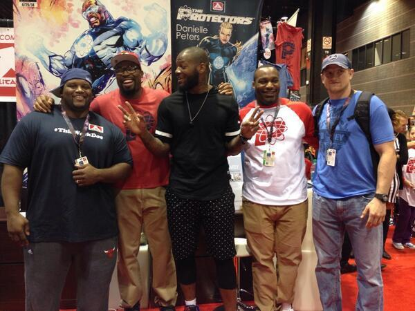 (L to R) Past and present Bears players Anthony Adams, Israel Idonije, Martellus Bennett, Nate Collins and Shea McClellin at C2E2 at McCormick Place April 26, 2014.