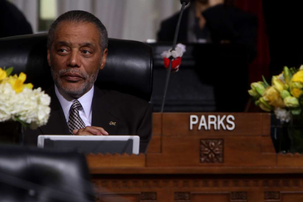 City Councilman Bernard Parks at Los Angeles City Council meeting in 2012.