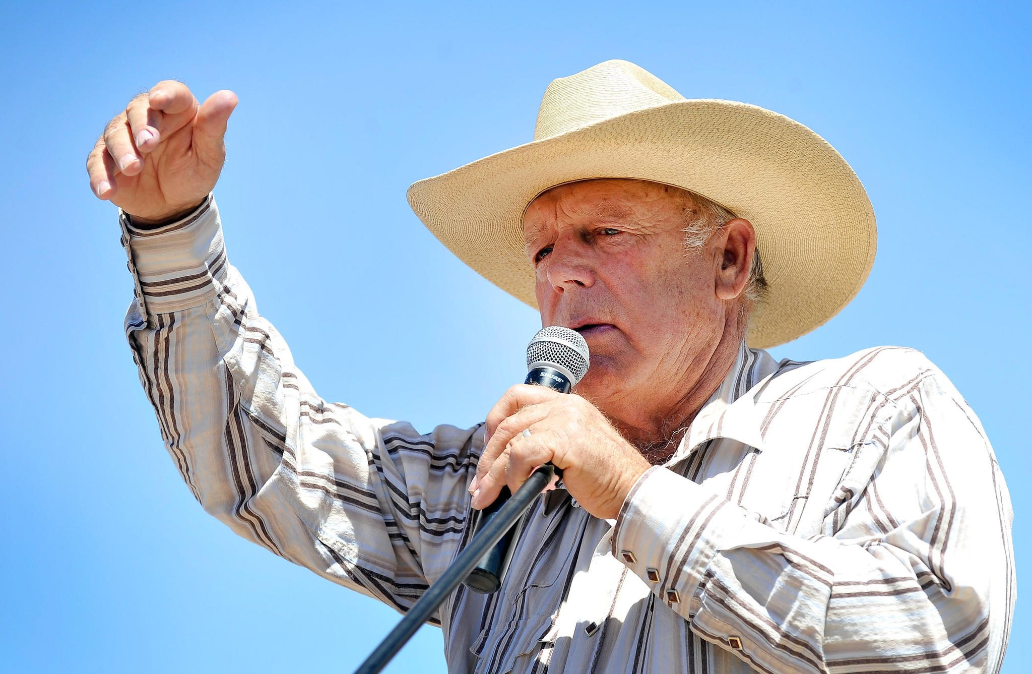 Rancher Cliven Bundy speaks during a news conference near his ranch in Bunkerville, Nevada.