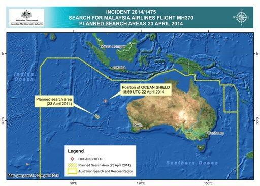 This map provided by the Joint Agency Coordination Center shows details in the search for the missing Malaysia Airlines Flight 370 in the southern Indian Ocean.