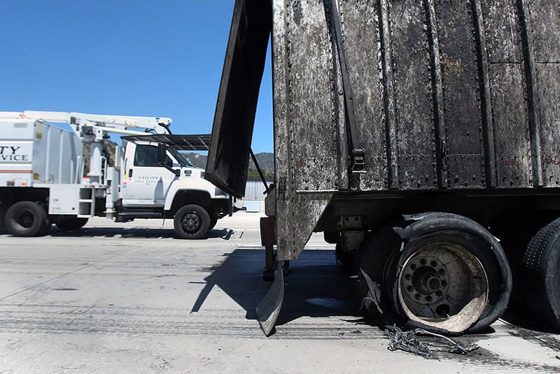 A big-rig fire on the southbound Golden State (5) Freeway, south of Hollywood Way, closed an on-ramp and tied up traffic on Monday afternoon. According the California Highway Patrol,the truck's brakes may have overheated and caused the blaze.