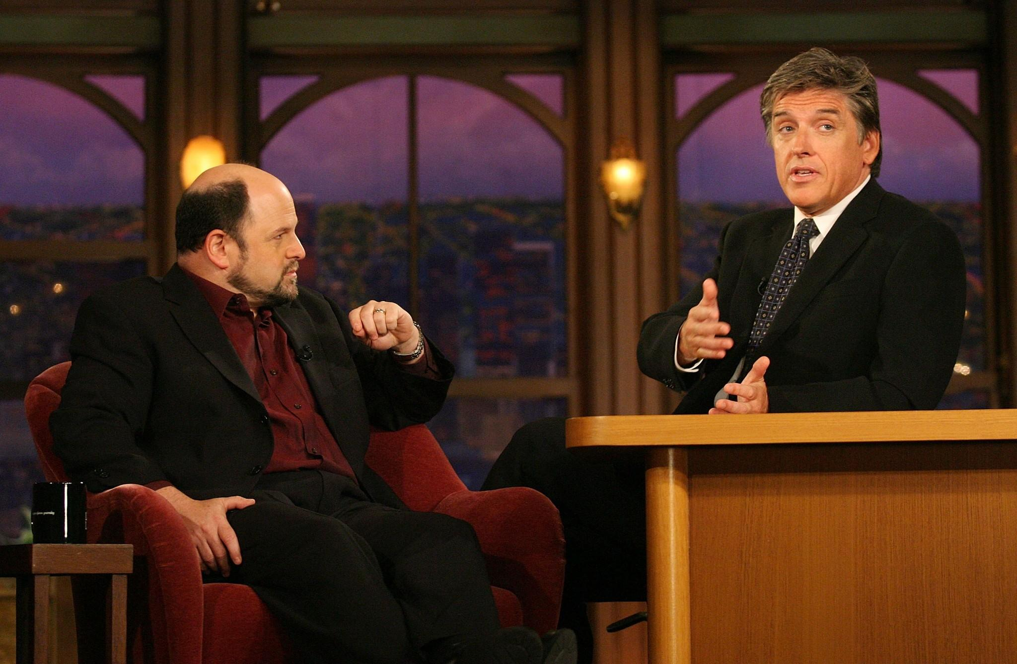 "(L-R) Actor Jason Alexander and host Craig Ferguson speak during a segment of ""The Late Late Show with Craig Ferguson"" at CBS Television City in 2007."