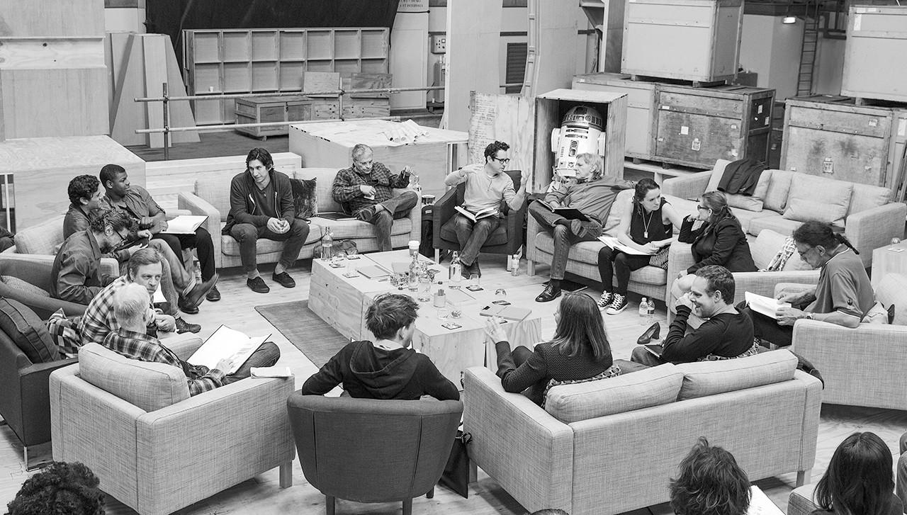 "The cast of ""Star Wars Episode VII"" gathers with director J.J. Abrams."