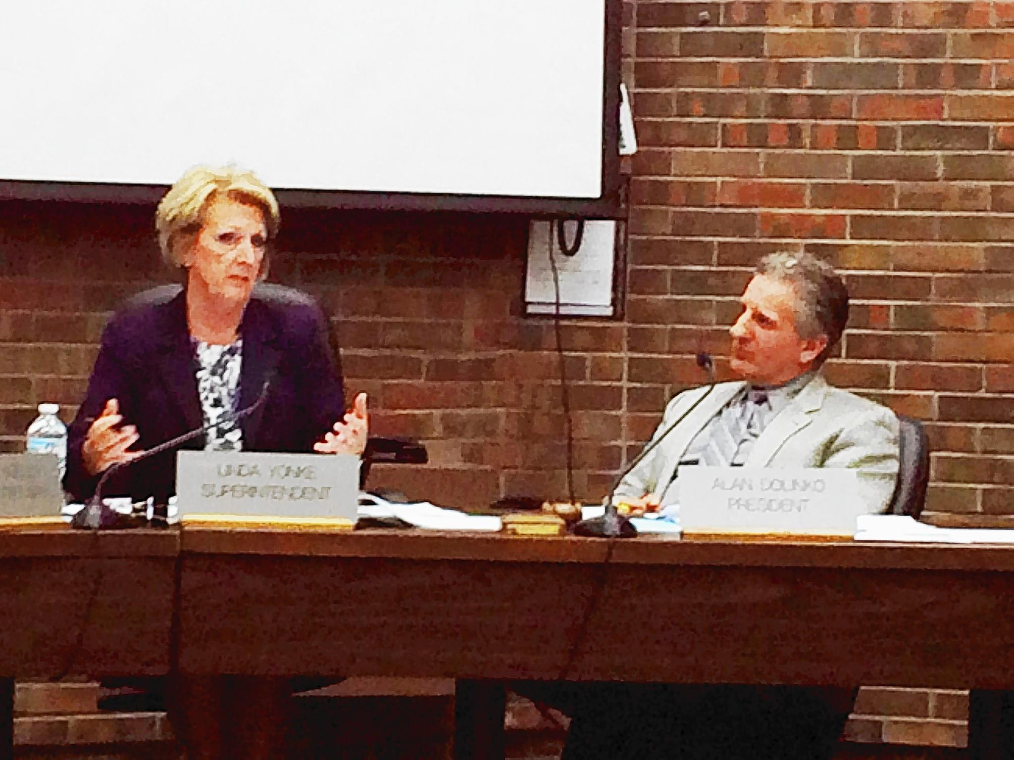 New Trier Township High School District 203 Superintendent Linda Yonke and board of education president Alan Dolinko at a meeting on April 28 discussed the potential impact of a proposed $89 million referendum on local residential property taxes.