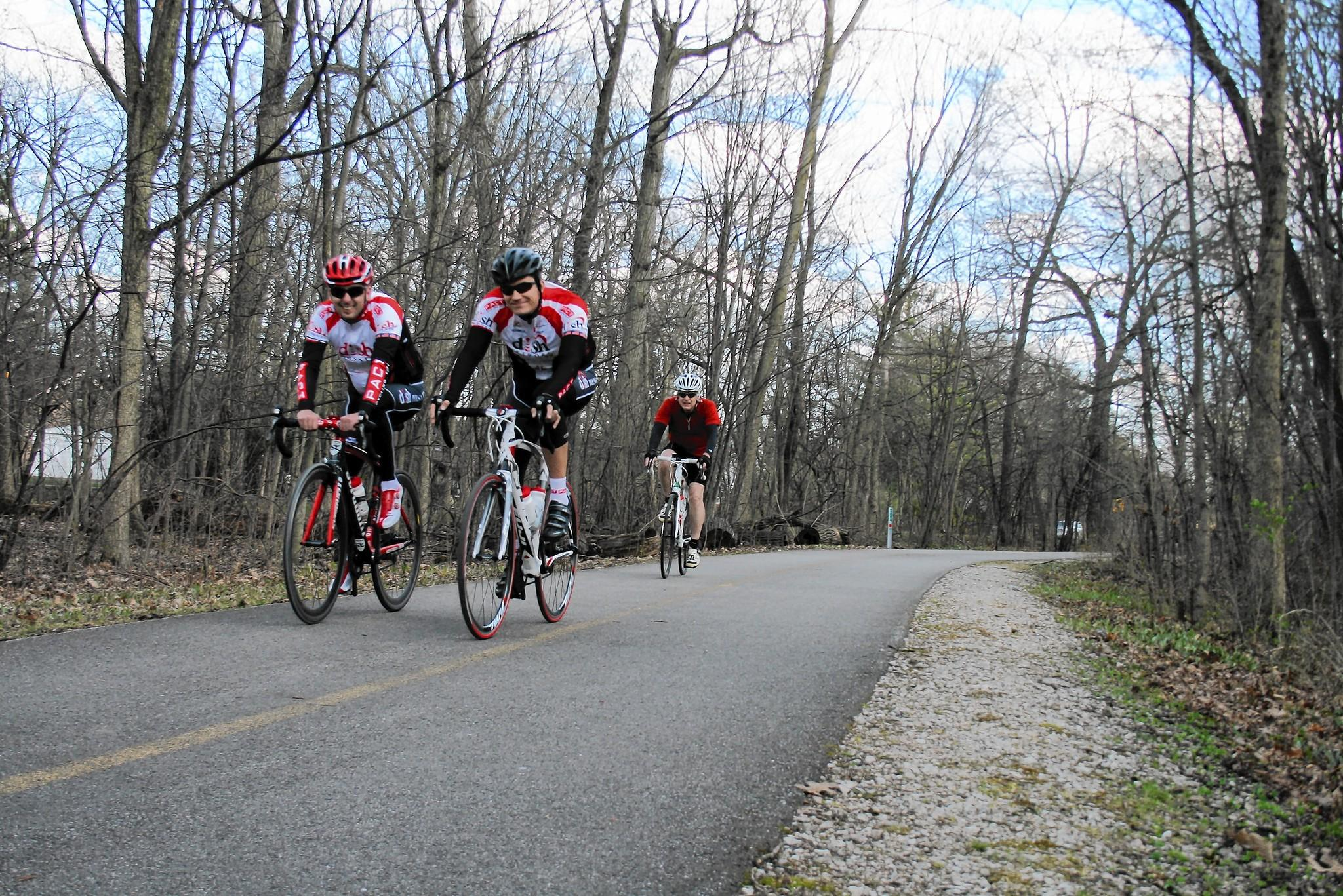 Bicyclists ride on a Cook County Forest Preserve trail in Glenview on April 25. The Village of Glenview recently received a $1.07 million grant to construct a 2-mile, off-road bike path in town.