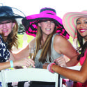 "Becky Sanders, left, Krista Kowalczyk and Kelly McWilliams look fashionable in colorful hats for ""Sunday Brunch and Polo"" at the International Polo Club. The event benefited The Center for Family Services and featured a ""Fashion on the Field"" halftime competition."