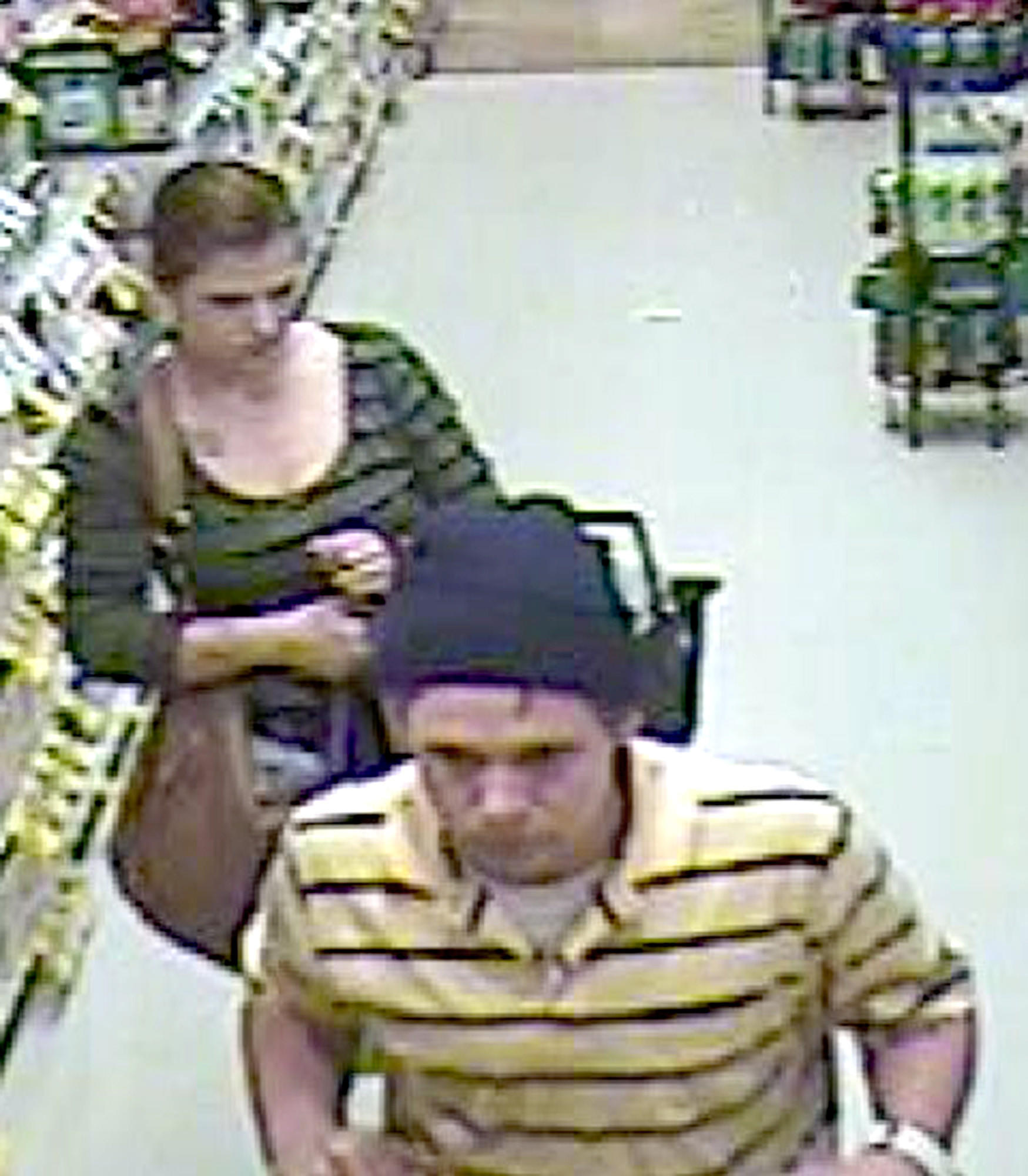 Police are looking for a man and woman, who they shoplifted several hundreds of dollars in products from a local grocery stores.