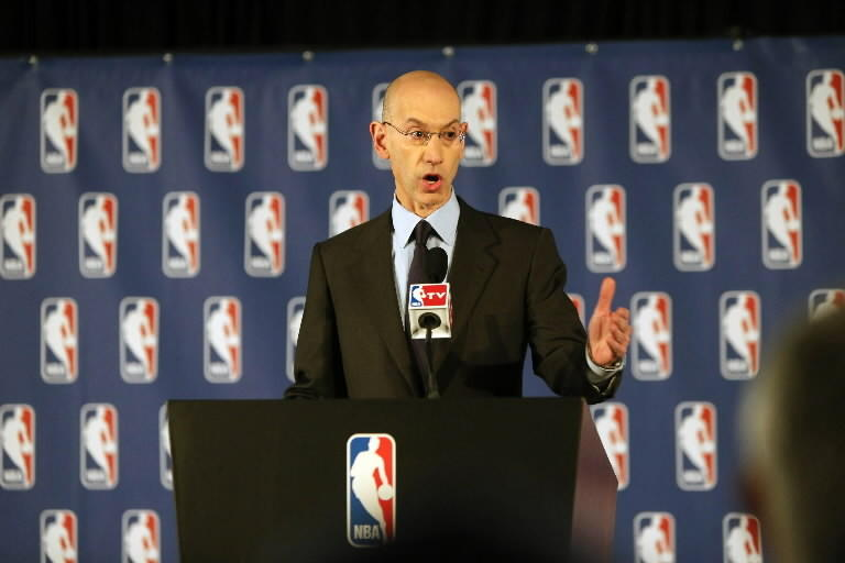 NBA Commissioner Adam Silver addresses the media Tuesday April 29, 2014, in New York.