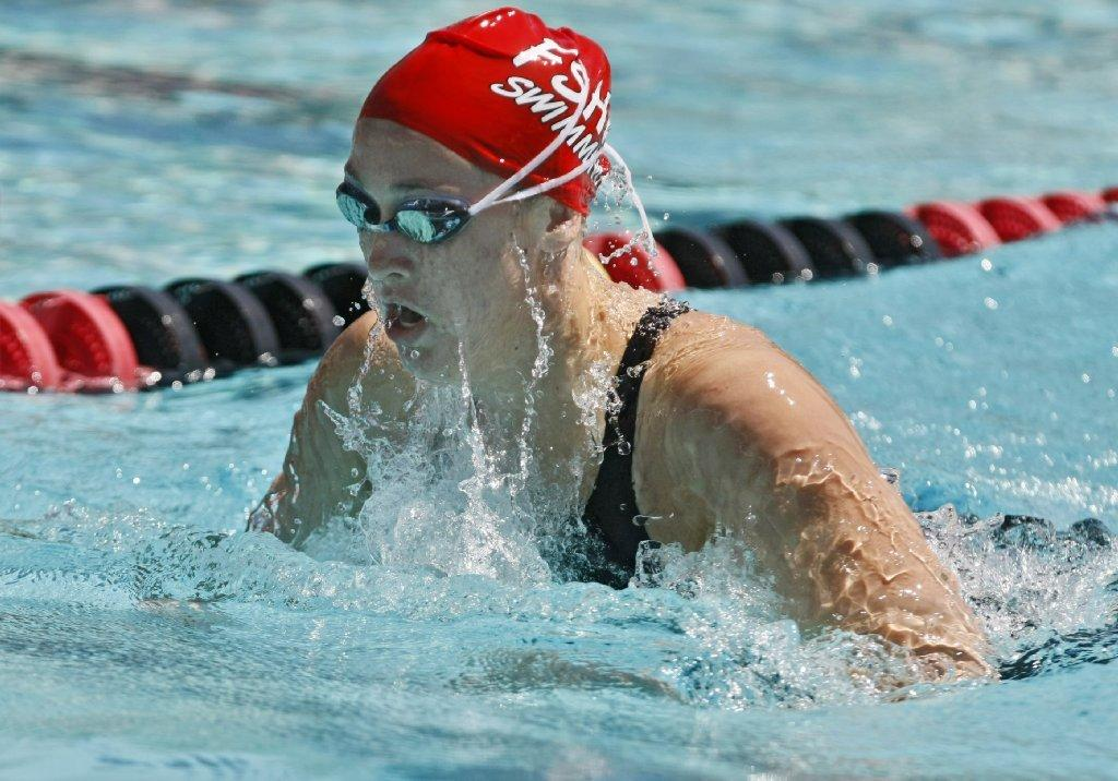 Flintridge Sacred Heart Academy junior Kirsten Vose wins the girls' varsity 200-yard IM race in the 2014 Mission League Championship Meet at the Rose Bowl Aquatics Center in Pasadena on Tuesday. (Raul Roa/Staff Photographer)