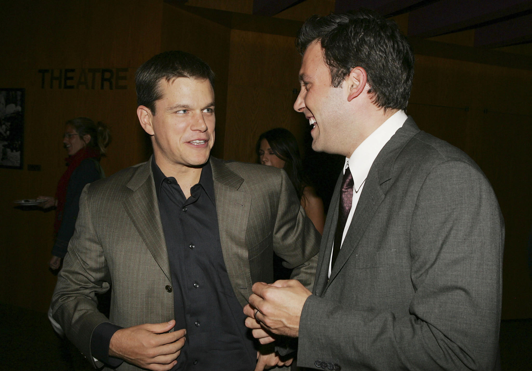 "Matt Damon (L) and Ben Affleck talk at the premiere of Dimension Film's ""The Brothers Grimm"" at the Directors Guild Theater in Los Angeles."