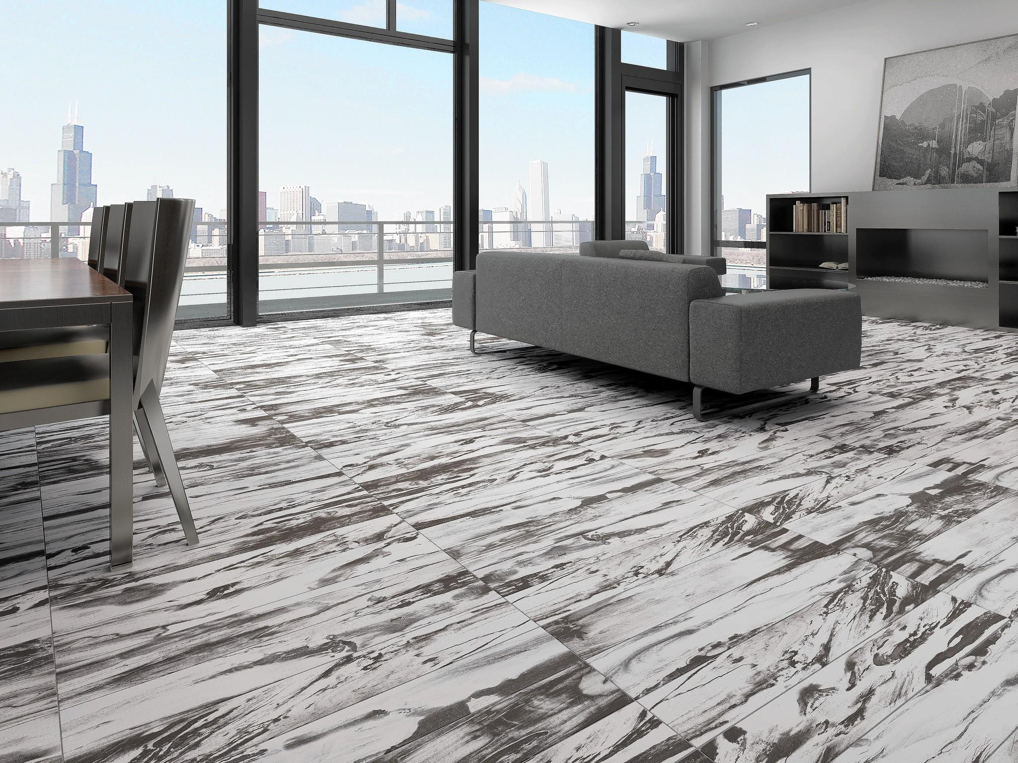 Modena glazed porcelain is a recreation of petrified wood by Emser tile. Shown in alder, the flooring also comes in cedar, linden, spruce and elm colors.