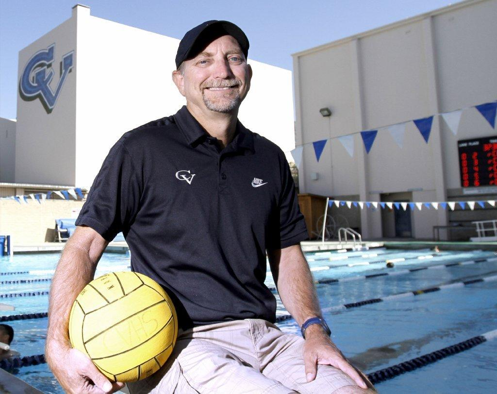 Former Crescenta Valley High swim and water polo coach Pete Loporchio, at the La Crescenta school on Thursday. Loporchio will be inducted into the school's hall of fame in May. (Raul Roa/Staff Photographer)