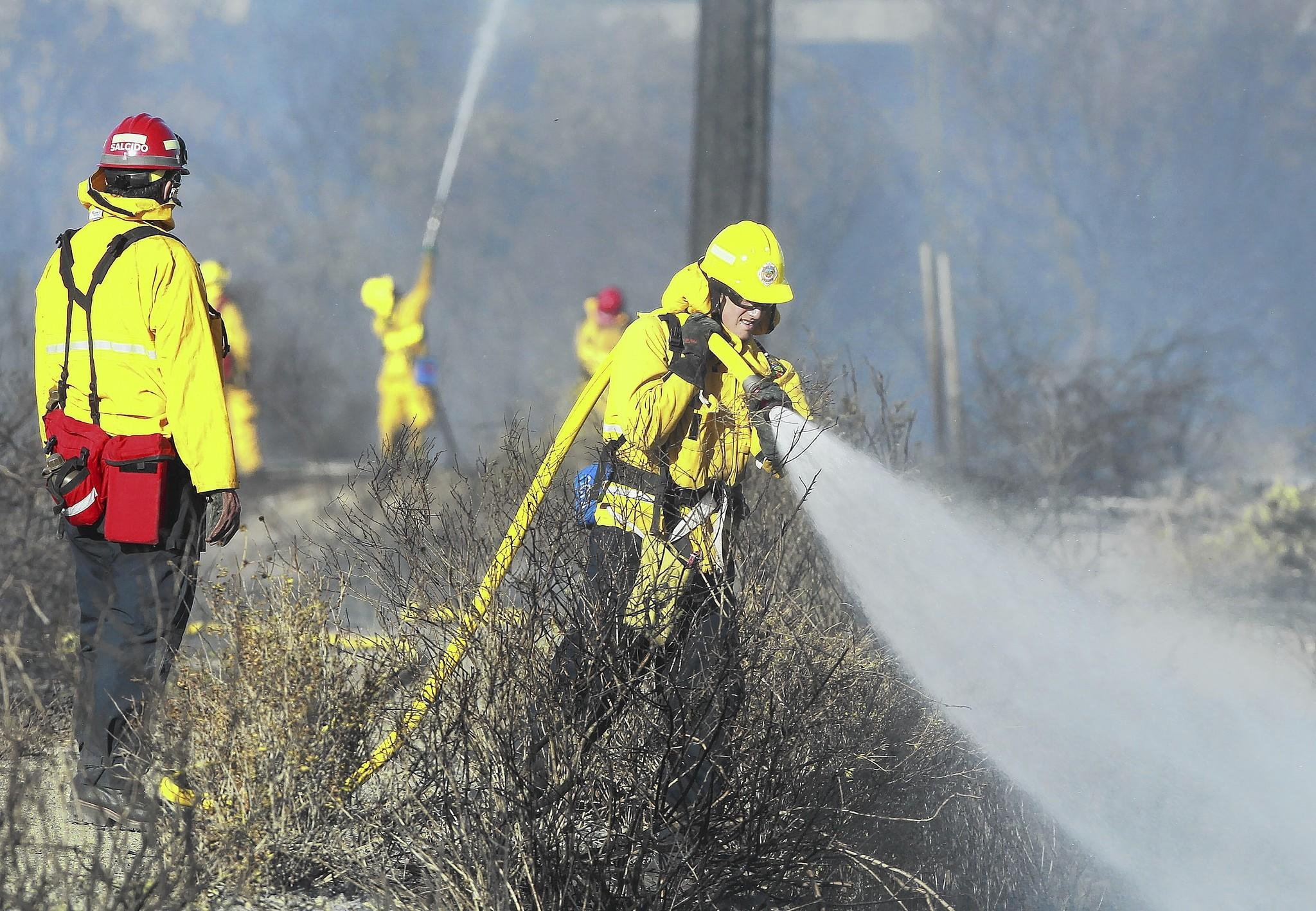 An Orange County Fire Authority fire crew douse hot spots in the area where fire broke out in the dense brush near University Blvd behind the Fletcher Jones Motorcars Dealership in Newport Beach on Wednesday.
