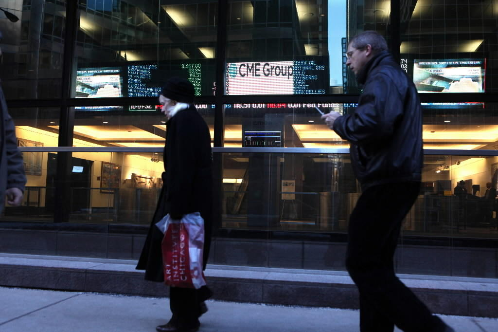 A digital board can be seen from the street at Chicago's CME Group offices in Chicago.