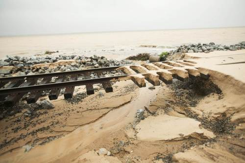 Train rails are washed out along Scenic Hwy 90 after heavy rains and flooding damage in Pensacola, Florida, April 30, 2014.