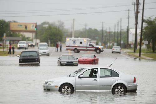 Cars left stranded along Fairfield Dr. during flash flooding in Pensacola, Florida, on April 30, 2014.