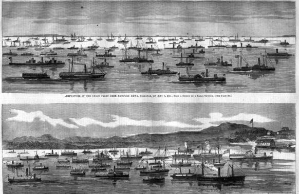 This pair of illustrations from the May 21, 1864 edition of Harper's Weekly shows the departure of the Union fleet from Hampton Roads on May 4-5, 1864 and its arrival at City Point on the James River. The fleet included at least 120 vessels, with some estimates placing the number of hulls at 200.