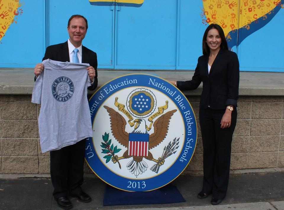 Rep. Adam Schiff (D-Burbank) and La Cañada Elementary School Principal Christine Castillo celebrate the school's National Blue Ribbon school recognition.