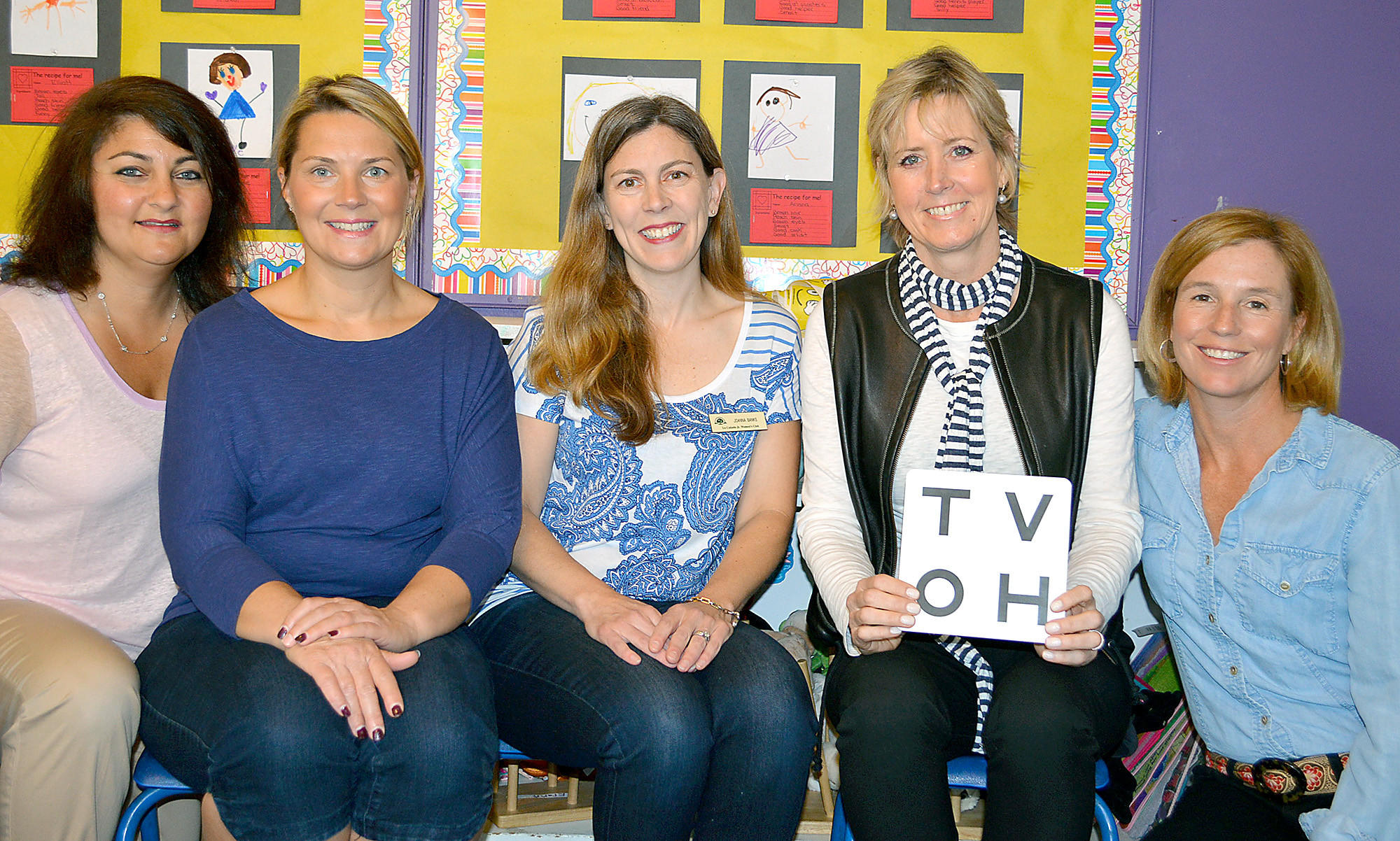 Members of the La Cañada Junior Women's Club recently visited preschools in La Cañada to screen students for vision problems. Participating in the program were, from left, Samantha Sandman, Rachel Fawcett, Joanna Banks, Kelly Chamberlain and Nadine Tapp.
