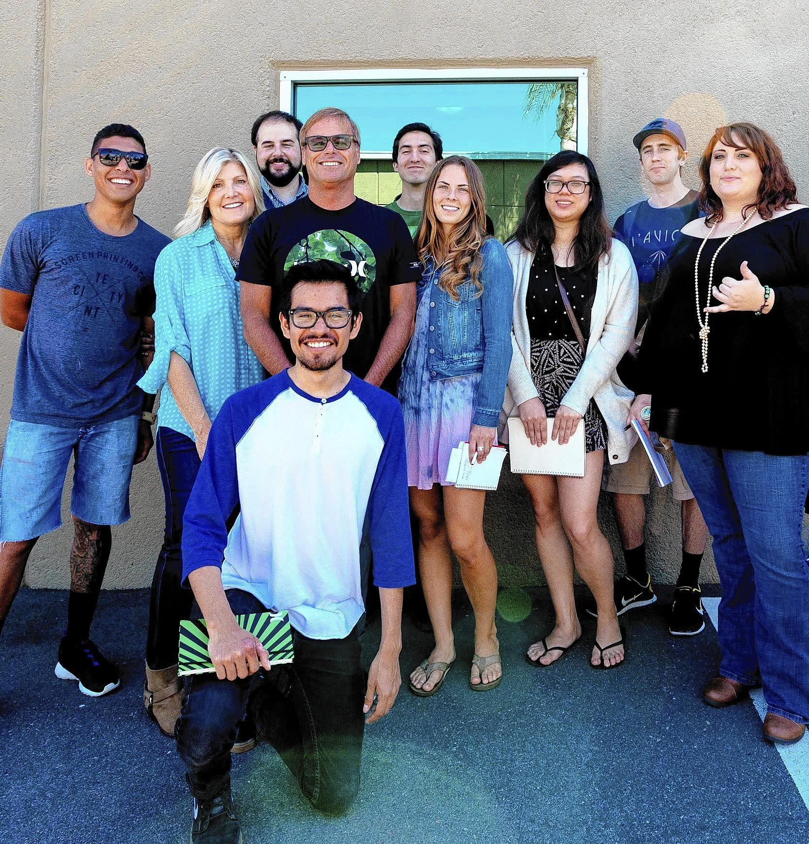 Bob Hurley, fourth from left, founder and chief executive of Hurley International, will speak at Laguna College of Art   Design's graduation on May 19. Here, he's seen with LCAD students Brandon Strong, Catharin Eure, Abram Goglanian, Bob Julian Lozano, Will Brown, Mariel Bradshaw, Wesley Chau, Drew Endly, and Katie Hendrickson.