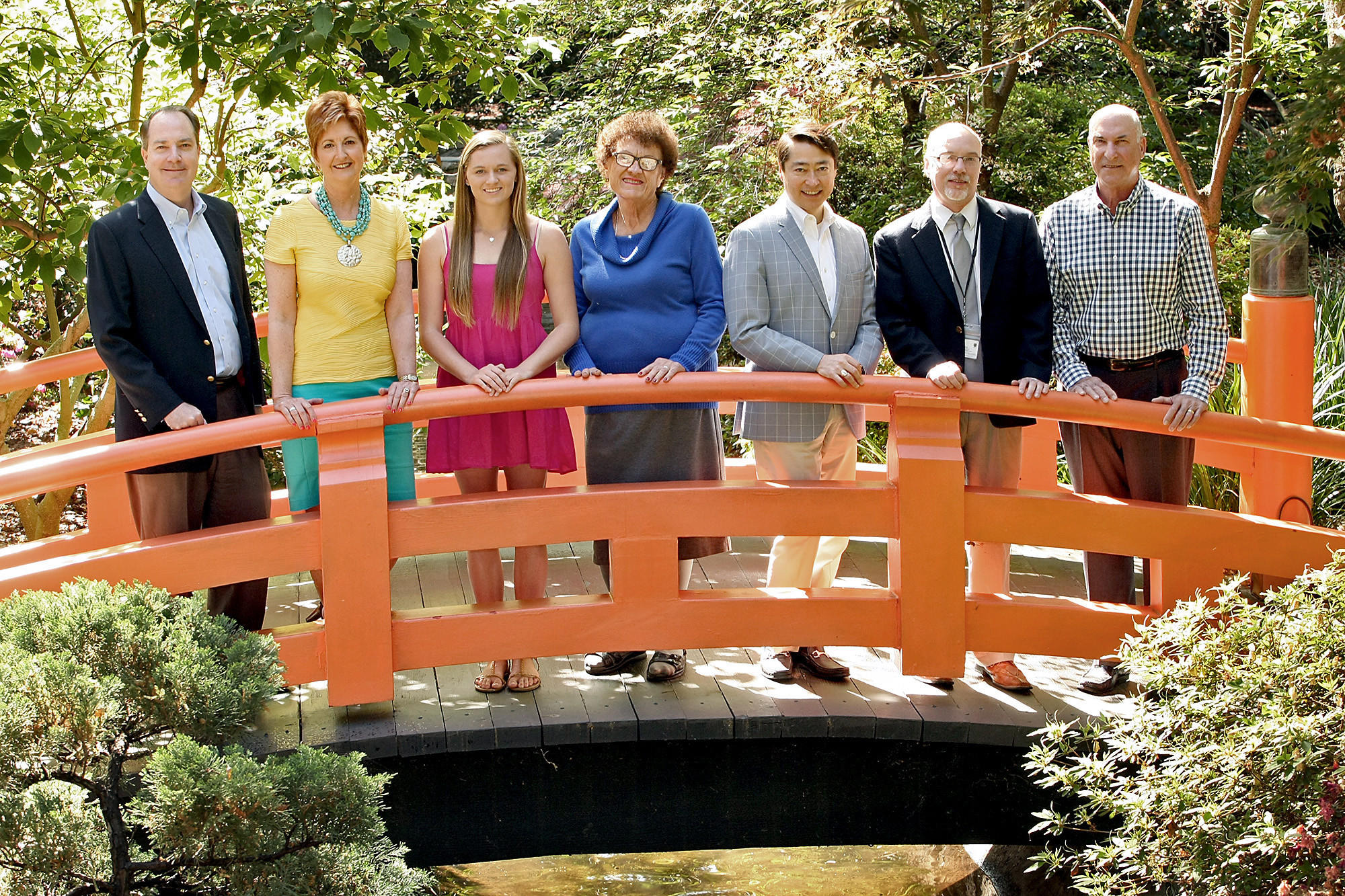 Tupper Award winners are from the left, Steve Del Guercio, Susan Boyd, Kyla Bradley, Harriet Hammons, Joel Peterson, Mark Totten and Tony Angelica. Photographed at Descanso Gardens on Monday, April 14, 2014.
