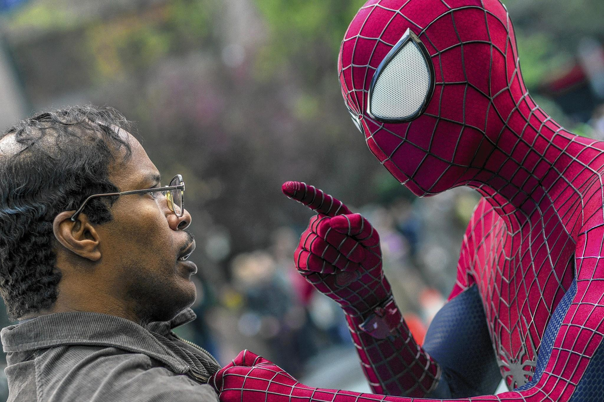"Jamie Foxx and Andrew Garfield as Spider-Man star in Columbia Pictures' ""The Amazing Spider-Man 2,"""