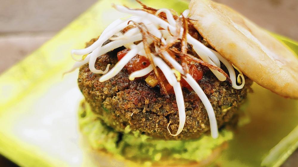 Cafe Pasqual's quinoa burger