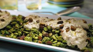 Fava bean salad with mint, burrata and pistachios