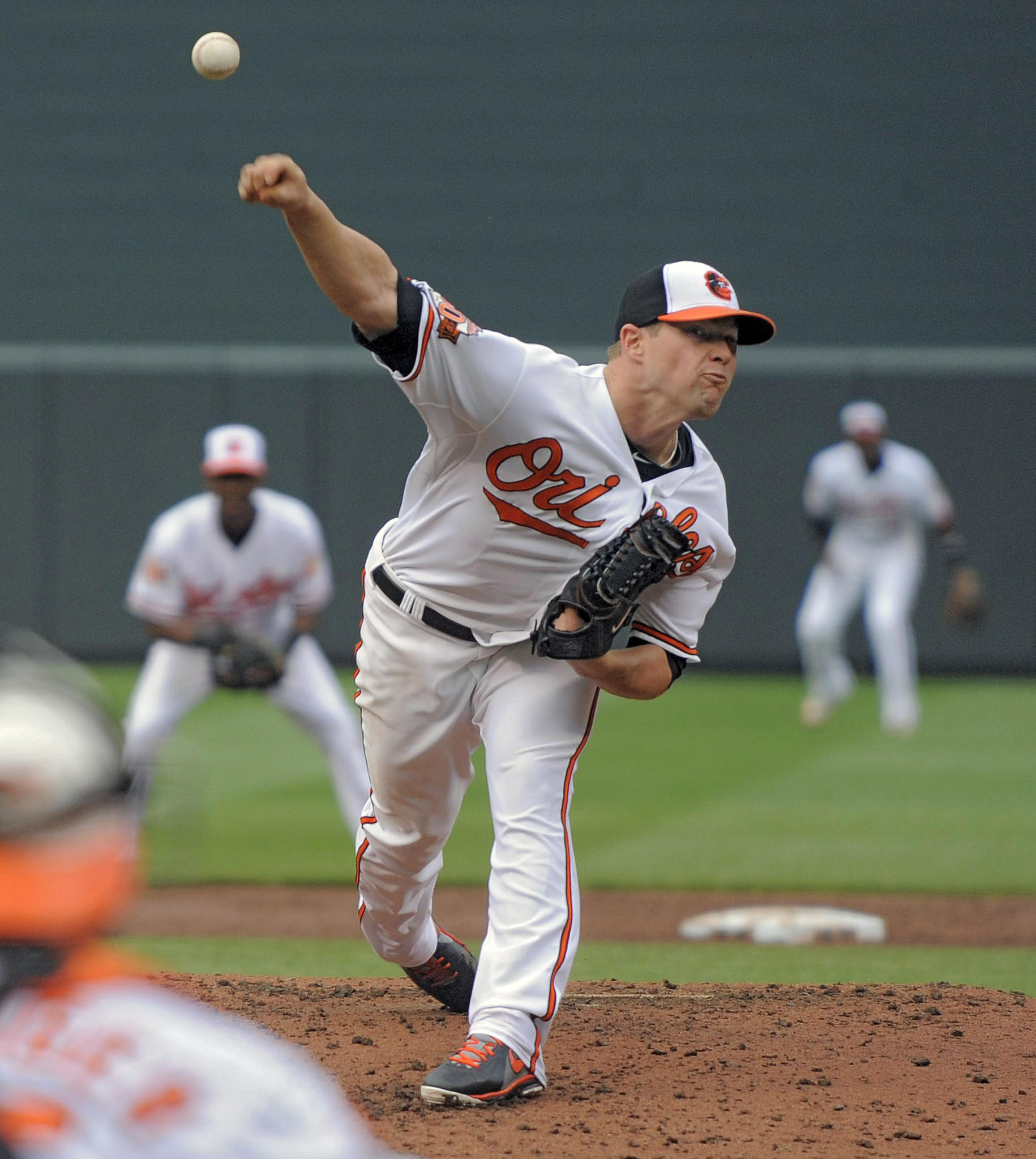 Orioles starting pitcher Bud Norris delivers against the Pittsburgh Pirates in game one of a double header between the ballclubs at Oriole Park at Camden Yards.