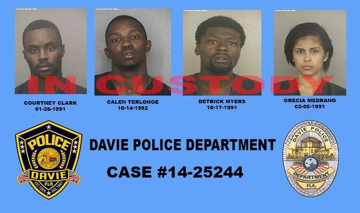 Courtney Clark, 23, Calen Terlonge, 21, Detrick Myers, 22, and Gregia Medrano, 22, allegedly broke into a Davie home, police said