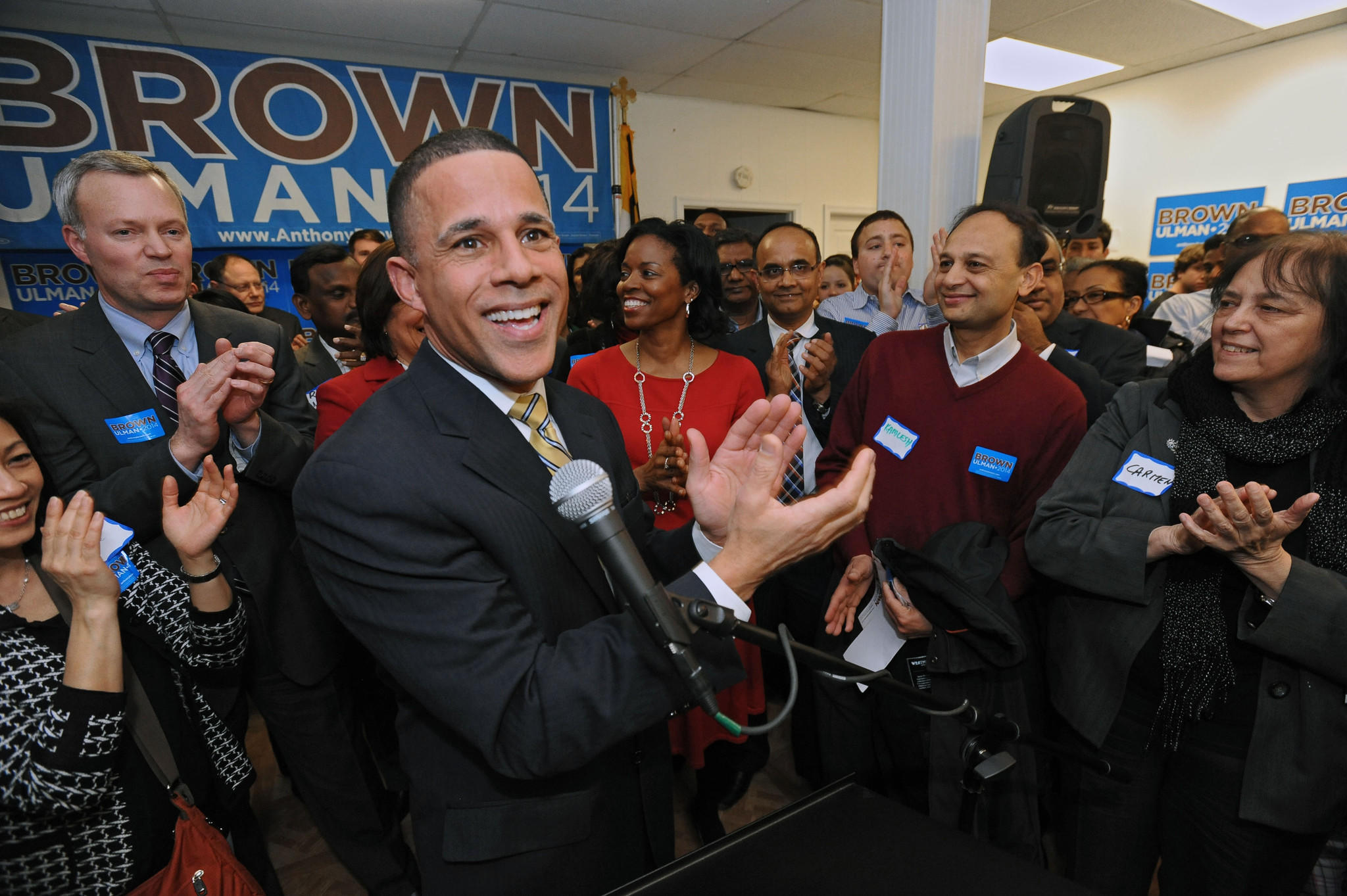 Gubernatorial candidate Lt. Gov. Anthony Brown rallies his supporters as he opens his Montgomery County campaign headquarter.