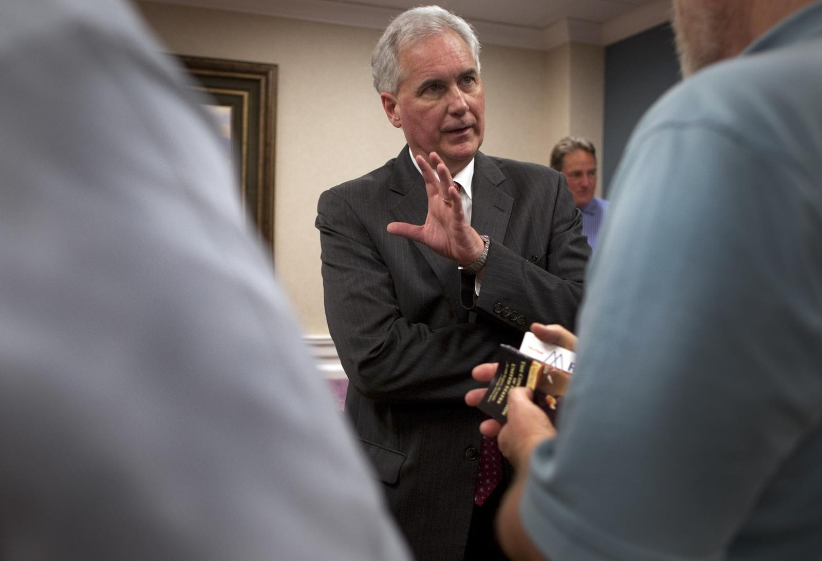 Rep. Tom McClintock (R-Elk Grove) talks with voters after speaking to a tea party group. (Gina Ferazzi / Los Angeles Times)