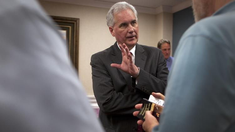 Rep. Tom McClintock (R-Elk Grove) talks with voters after speaking to a tea party group in 2014. (Gina Ferazzi / Los Angeles Times)