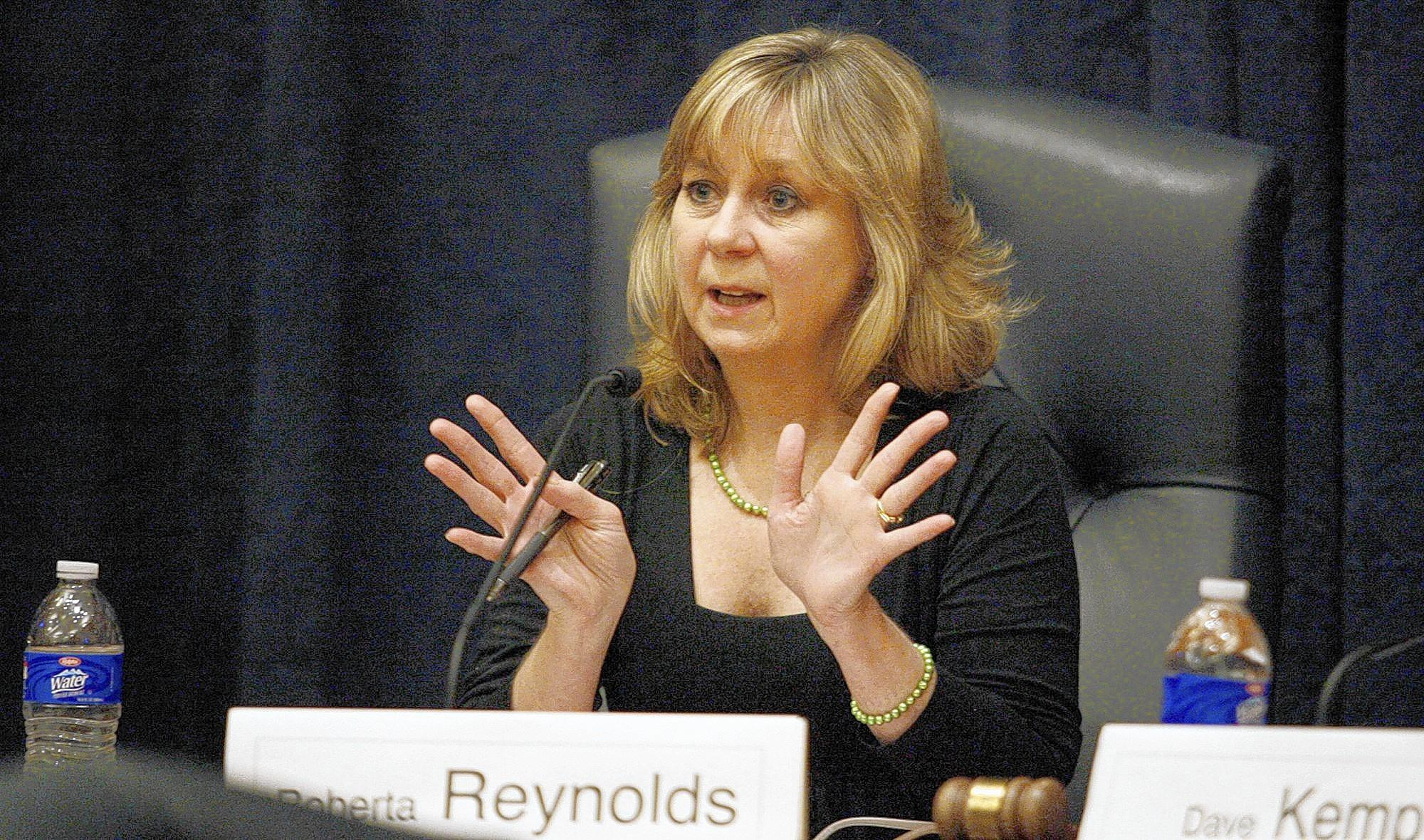 File Photo: Burbank School Board's Roberta Reynolds attends a candidates forum, which took place at Burbank City Hall on Wednesday, Jan. 20, 2011.
