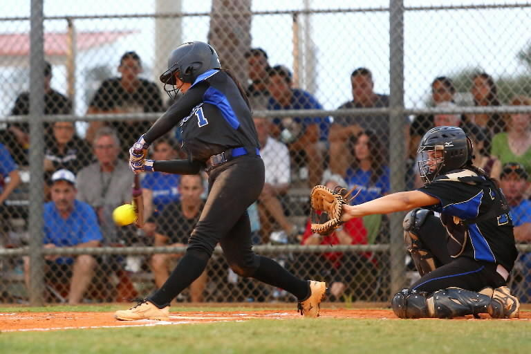 Park Vista's Savannah Julylia makes contact with a pitch during their game against Cypress Bay Friday.