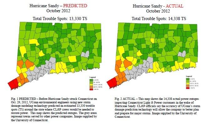 This map shows CL&P's predicted trouble spots vs. actual damage due to Hurricane Sandy.